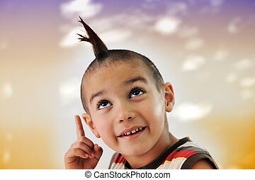 Cute little boy with funny hair and grimace, colorful...