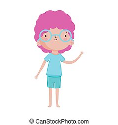 cute little boy with glasses cartoon character design