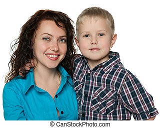 Cute little boy with his mother