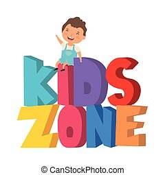cute little boy with kids zone words