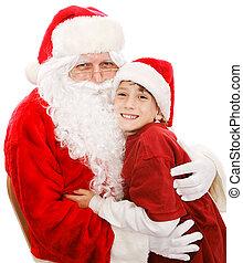 Cute Little Boy With Santa
