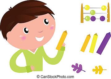 Cute Little Boy with School accessories. Vector cartoon Illustration.