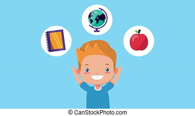 cute little boy with school supplies character