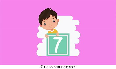 cute little boy with seven block character