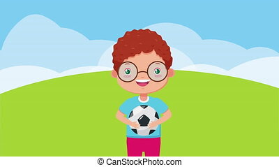 cute little boy with soccer balloon character