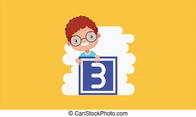 cute little boy with three block character