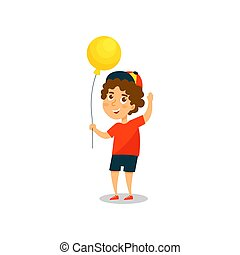 Cute little boy with yellow balloon vector Illustration on a white background