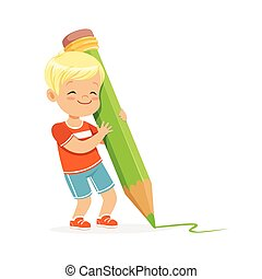 Cute little boy writing with a giant green pencil cartoon vector Illustration