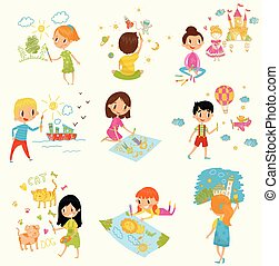 Cute little boys and girls drawing with color paints and pencils set, young artists, kids activity routine vector Illustrations on a white background