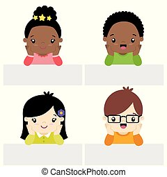 Cute Little Boys and Girls Kawaii Style With Banner Set Flat Vector Illustration Isolated on White