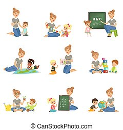 Cute little boys and girls playing and studying set, children study the alphabet, geography, biology, mathematics in kindergarten, pre primary school education concept vector Illustrations