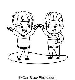 cute little boys avatars characters vector illustration ...