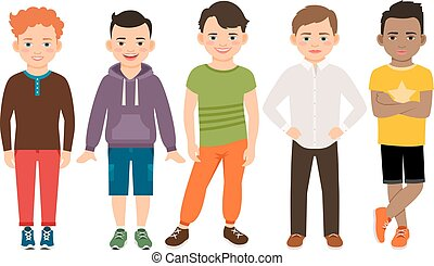 Cute little boys characters isolated on white background....