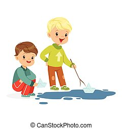 Cute little boys playing with paper boats in a water puddle cartoon vector Illustration