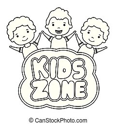 cute little boys with kids zone lettering