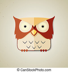 Cute little brown and light yellow cartoon owl
