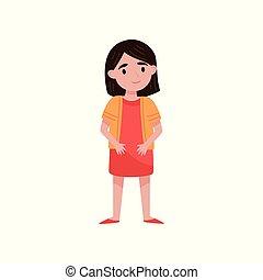 Cute little brunette girl standing vector Illustration on a white background