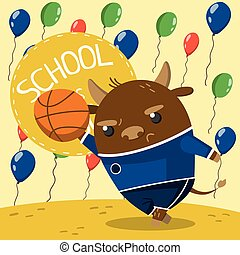 Cute little bull in school uniform playing basketball on the background with colorful balloons. School is cool vector illustration, design element for poster or banner