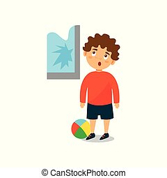 Cute little bully boy crashed the window with ball vector Illustration on a white background
