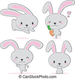 Cute Little Bunny - Cute little bunny with big ears walking...
