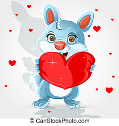 bunny holds a soft red heart-pillow