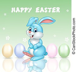 Cute little bunny with happy easter