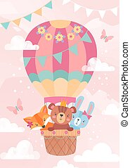 Cute little cartoon animals in a hot air balloon