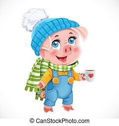 Cute little cartoon baby pig in winter hat with cup of tea isolated on a white background