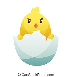 Cute little cartoon chick hatched from an egg isolated on a white background. Funny yellow chicken. Vector illustration of little chicken for children