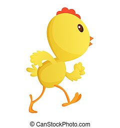 Cute little cartoon chick running somewhere isolated on a white background. Funny yellow chicken. Vector illustration of little chicken for children
