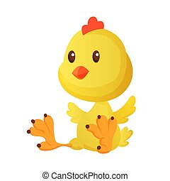 Cute little cartoon chick seating isolated on a white background. Funny yellow chicken. Vector illustration of little chicken for children