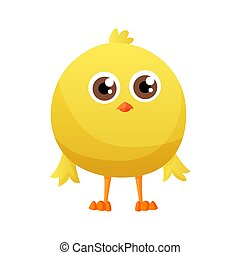 Cute little cartoon chick standing isolated on a white background. Funny yellow chicken. Vector illustration of little chicken for children