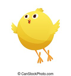 Cute little cartoon chick try to fly isolated on a white background. Funny yellow chicken. Vector illustration of little chicken for children