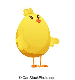 Cute little cartoon chick waiting something isolated on a white background. Funny yellow chicken. Vector illustration of little chicken for children