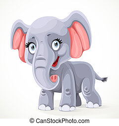 Cute little cartoon elephant standing on white background