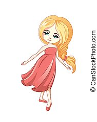 Cute little cartoon girl