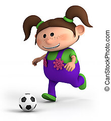 girl playing soccer - cute little cartoon girl playing...