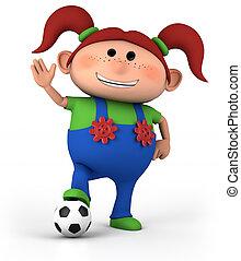 girl with soccer ball - cute little cartoon girl with soccer...