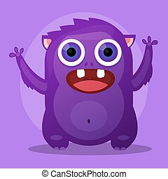 Cute Little Cartoon Monster. Purple Angry Little Monster.