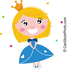 Cute little cartoon princess isolated on white - Happy...