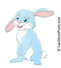 Cute little cartoon rabbit standing and smiling on white. Vector