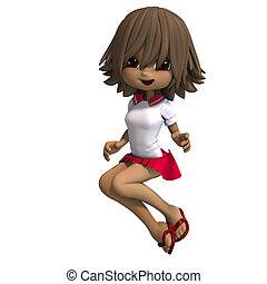 cute little cartoon school girl has a lot of fun. 3D rendering with clipping path and shadow over white