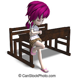 cute little cartoon school girl leaning on a school form. 3D rendering with clipping path and shadow over white