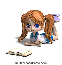 cute little cartoon school girl reads a book. 3D rendering...