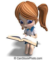 cute little cartoon school girl reads a book. 3D rendering ...
