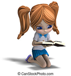 cute little cartoon school girl reads a book. 3D rendering with clipping path and shadow over white