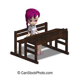cute little cartoon school girl sitting on a school form. 3D...