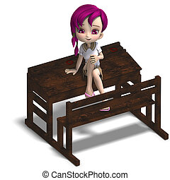 cute little cartoon school girl sitting on a school form. 3D rendering with clipping path and shadow over white