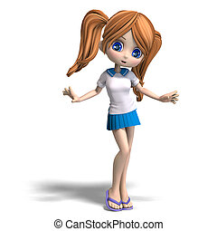 cute little cartoon school girl with pigtails. 3D rendering with clipping path and shadow over white