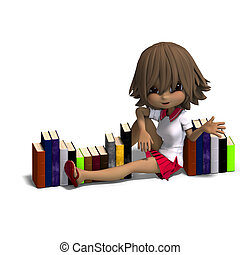 cute little cartoon school girl with many books. 3D...